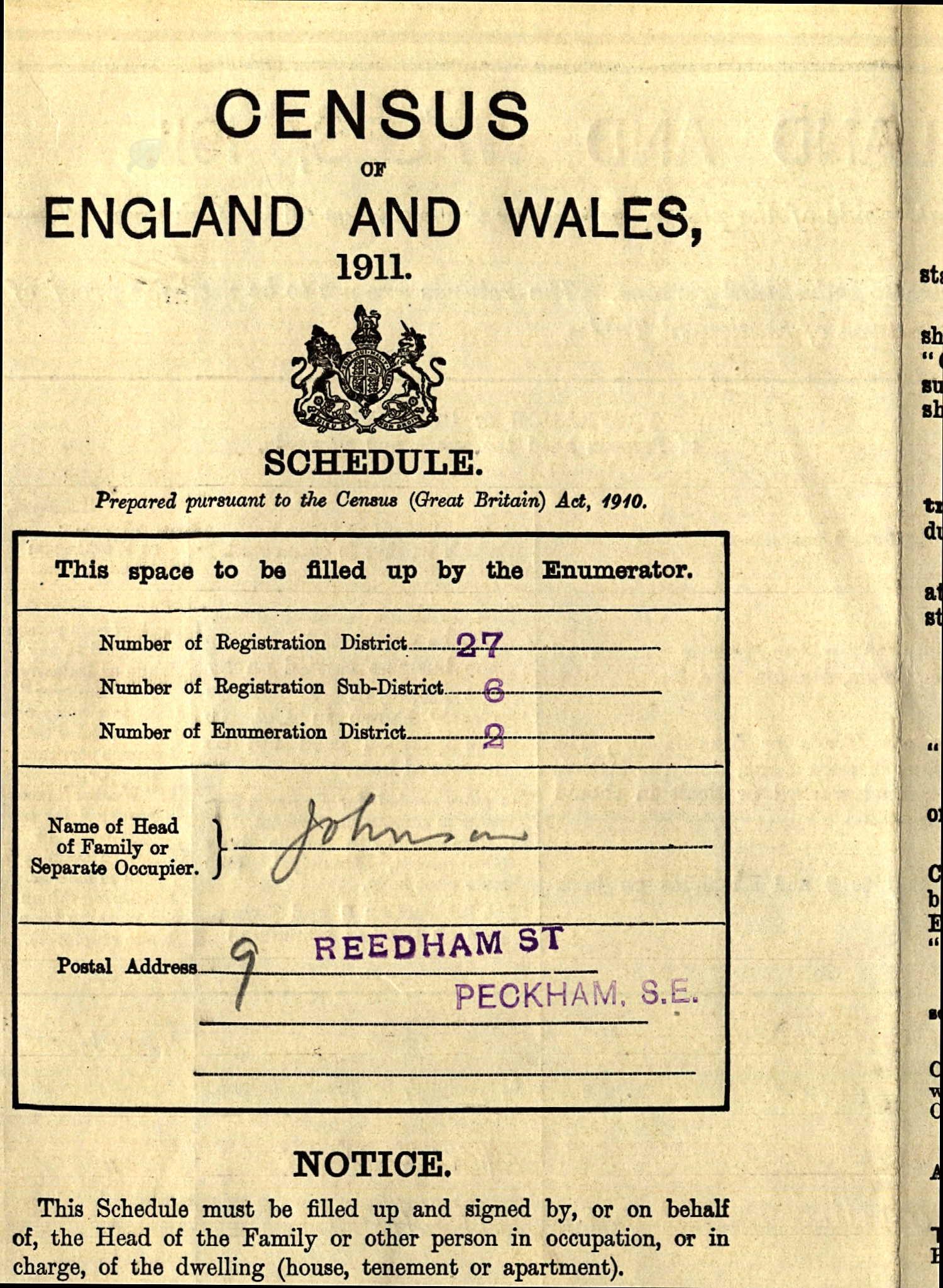 1911 Census-9 Reedham St Peckham.jpg