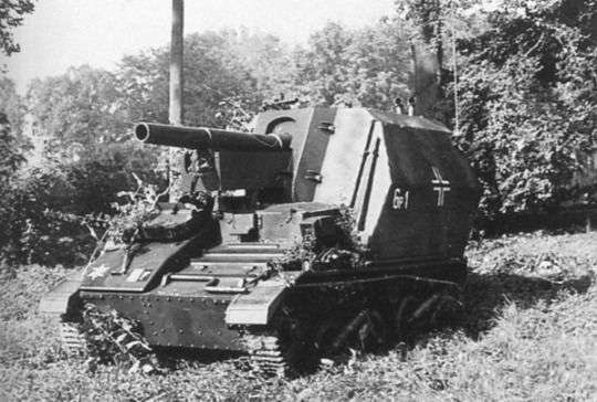 A British Loyd Chassis modified with a 10.5cm main gun for German service.jpg