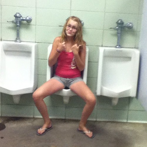 young girls peeing