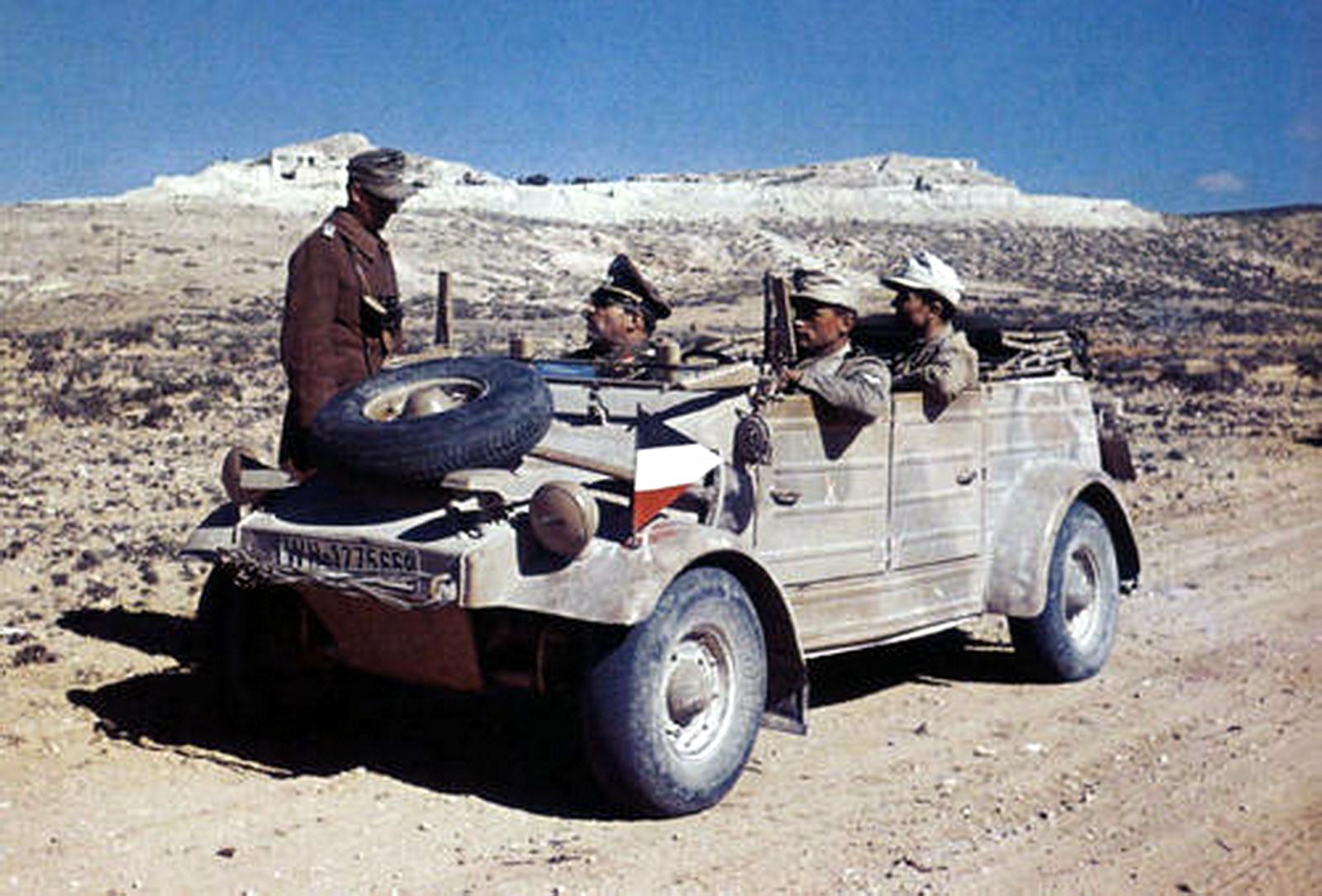 An Afrikakorps' VW KdF Kübelwagen Typ 82 near the Akarit defensive line,.jpg