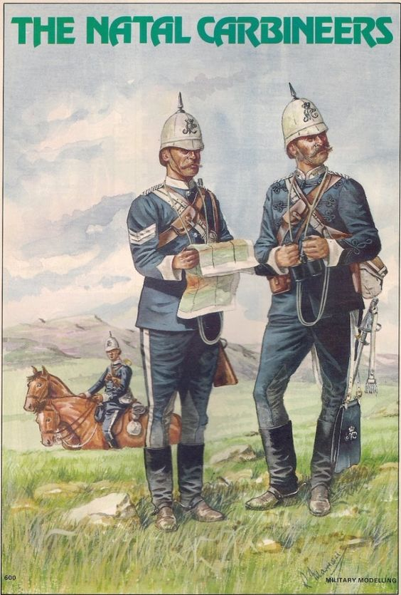 British; Natal Carabiners, Sergeant & Officer, trooper hold horses to rear, 1879 by R.J.Marrio...jpg