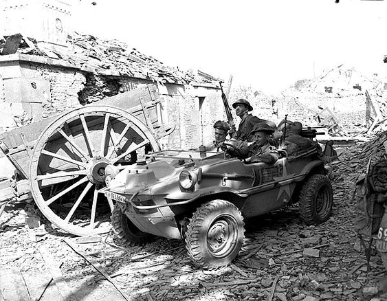British troops of the 5th Division using a captured Schwimmwagen, Monte Cassino, Italy, Januar...jpg