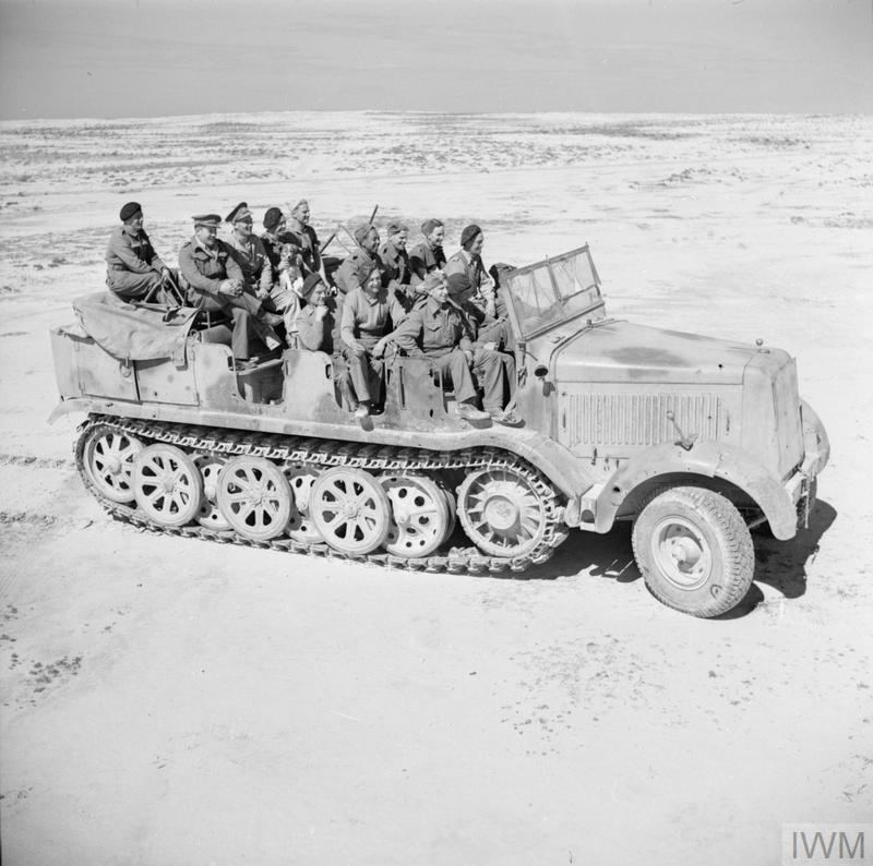 captured German SdKfz 7 artillery tractor in the Western desert,.jpg