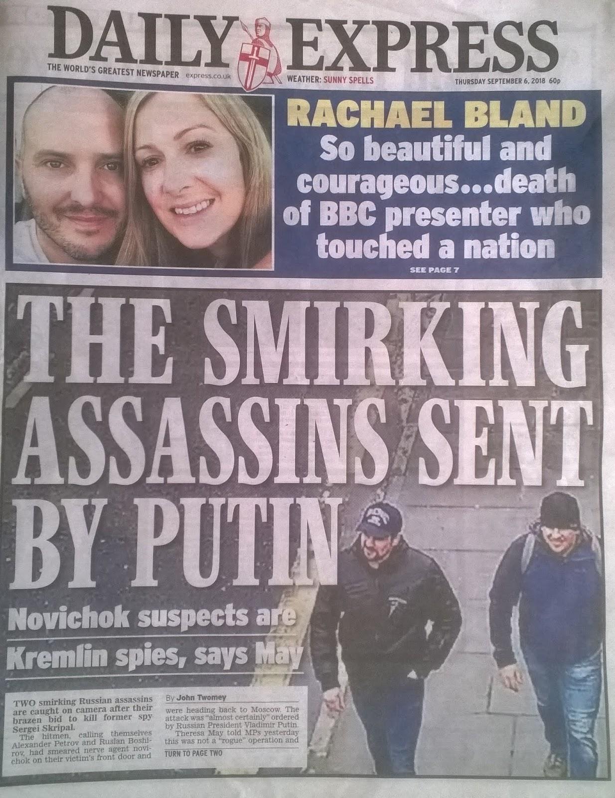 Daily Express 6 September 2018 on Putin GRU Novichok assassins identification.jpg