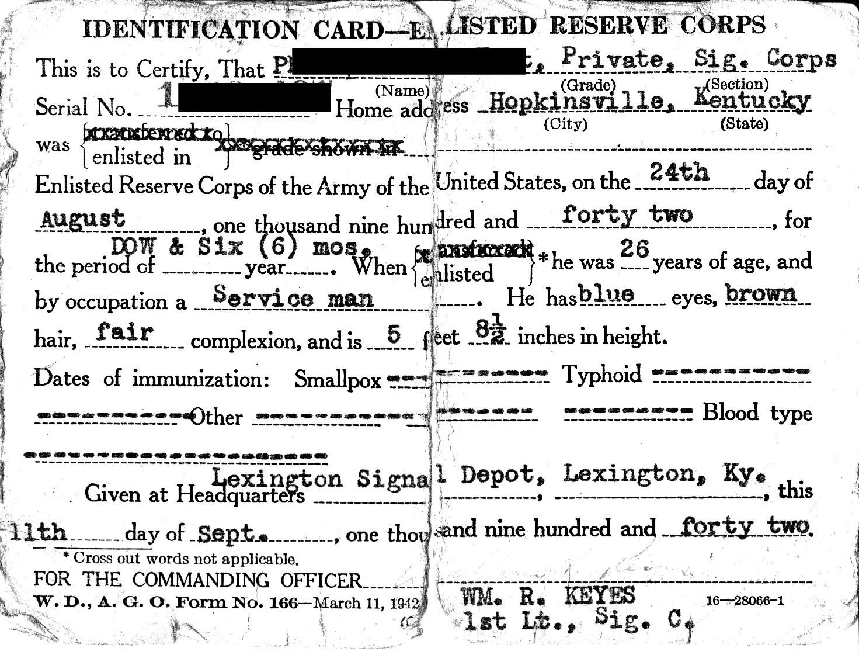 Enlisted Reserve Corps ID Card WW II.jpg