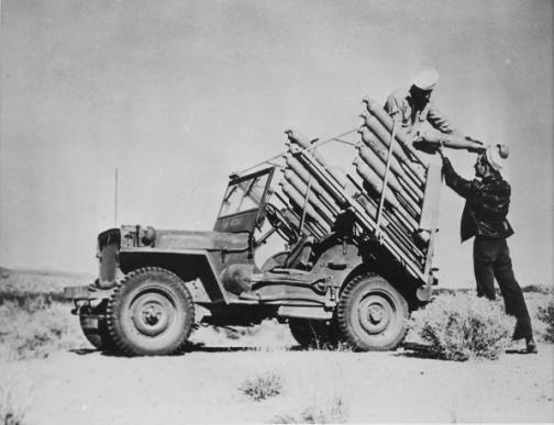 Experimental rocket firing jeep, US Navy Naval Air Facility, Inyokern, CA, 26 January 1945.jpg