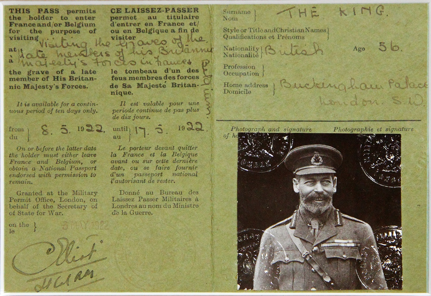 King George V Passport CREDIT CWGC.jpg
