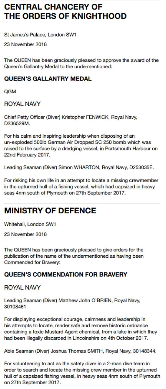 London Gazette Operational Awards 23 Nov 2018.jpg