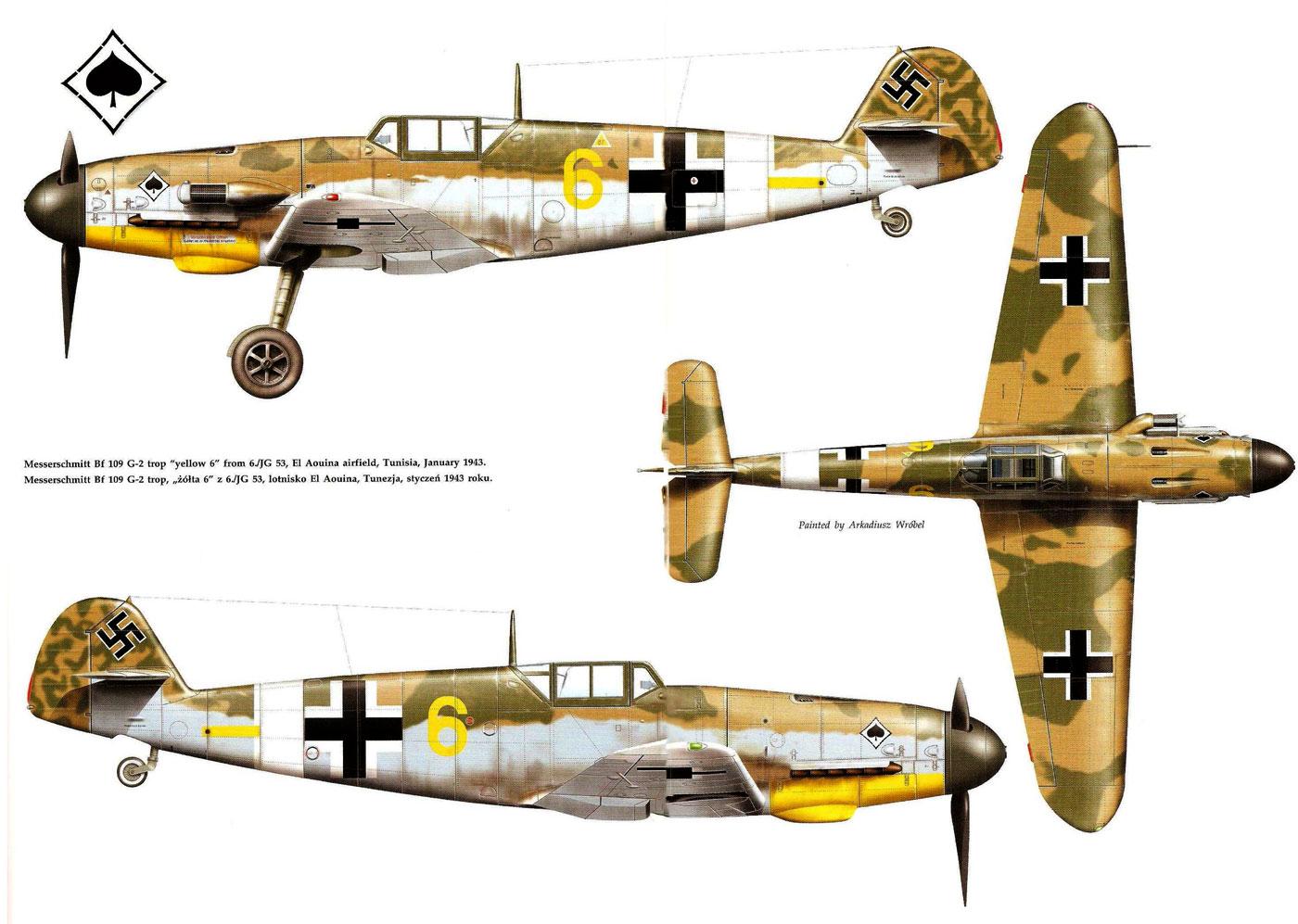 Messerschmitt Bf 109G2Trop 6.JG53 (Y6+-) Sicily 1943-1.jpg