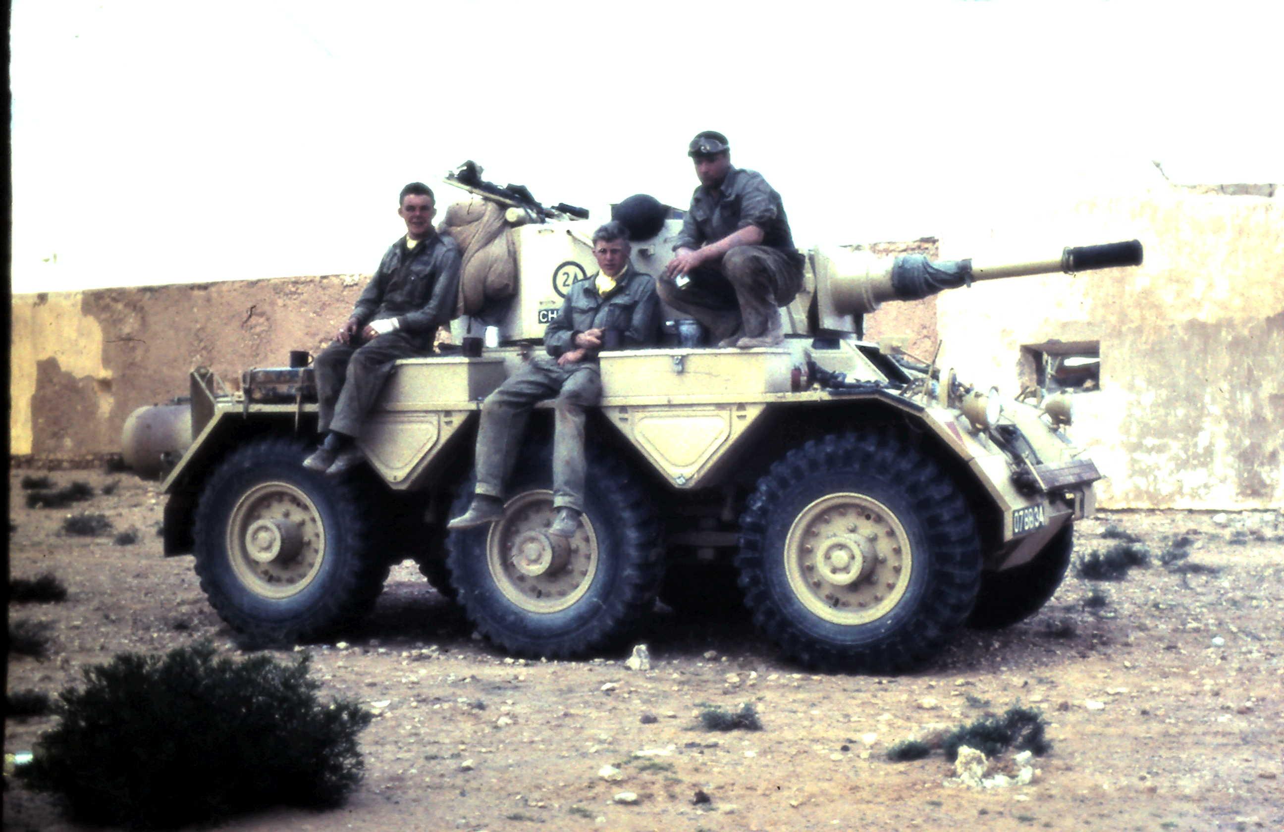 My crew, Bob Peake, Self & Bill Philips, at Fort Bir Dufan, Libya..JPG
