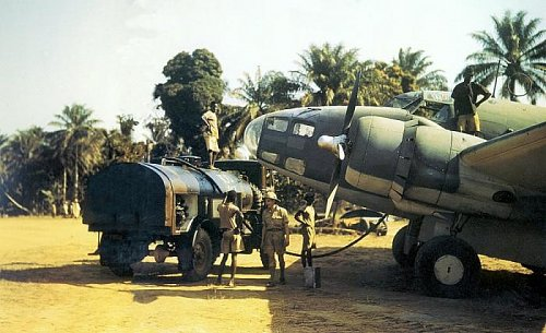 No. 200 Sqn. Hudson being refuelled by Bedford QL at Freetown, Gambia.jpg
