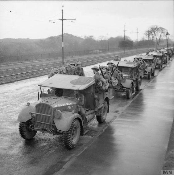 Norwegian troops in Fordson WOT2 15-cwt trucks, Coatbridge, Scotland, 10th November 1940..jpg