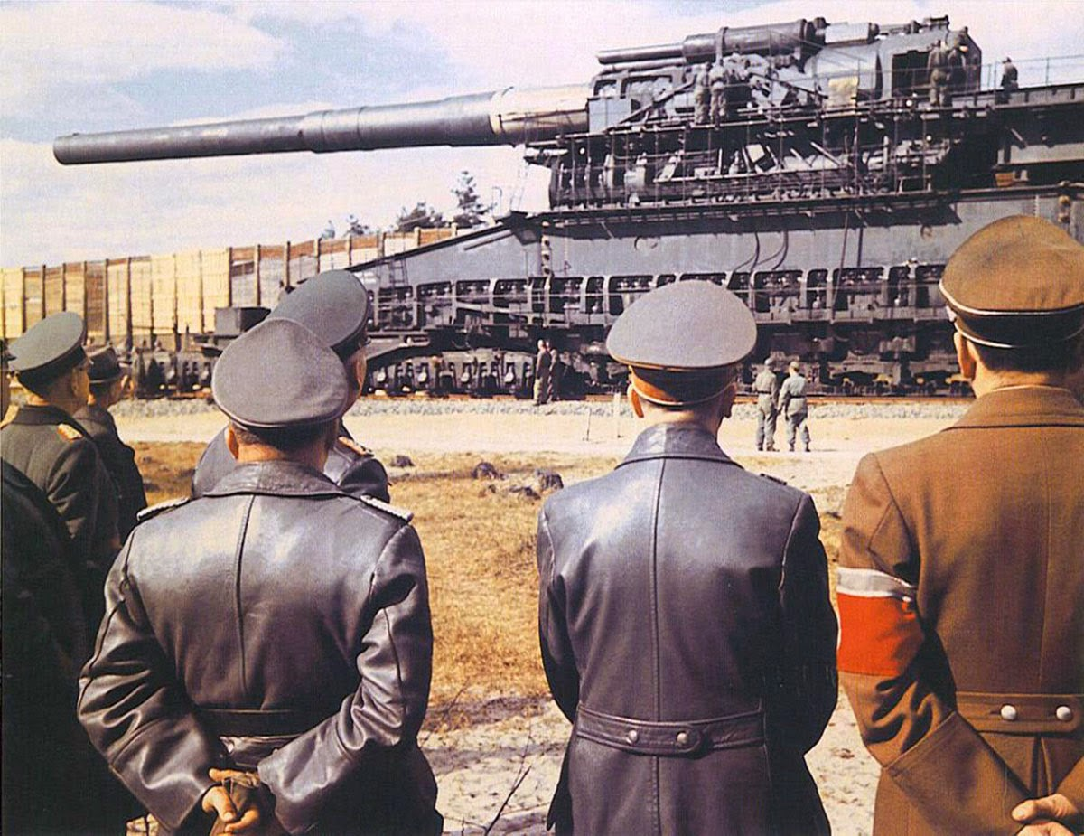 The Heavy Gustav, Hitler and generals inspecting the largest caliber rifled weapon ever used i...jpg