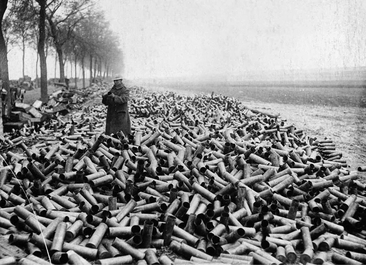 The shells from an allied creeping bombardment spent in a single day on German lines, 1916.jpg