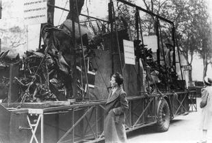 The wreckage of the plane flown to Britain by Nazi deputy leader Rudolf Hess on display in St ...jpg