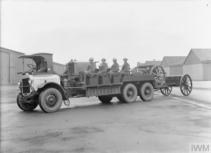 Thornycroft XB FC, 3-5 ton, 6 x 4, Artillery Portee Lorry carrying gun crew, 18 pounder field ...jpg
