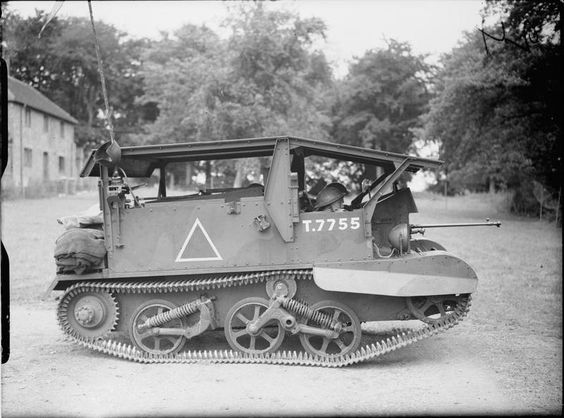 Universal Carrier Mk I with experimental armoured hood and Boys anti-tank rifle, Albury Heath,...jpg