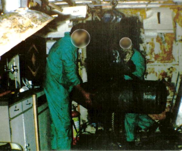 UXB in HMS Argonaut May 1982.jpg